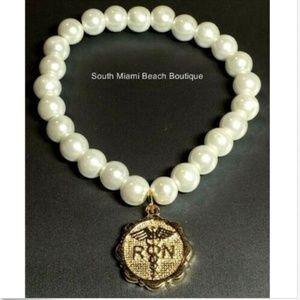 Jewelry - Gold RN Nursing Caduceus Pearl Charm Bracelet